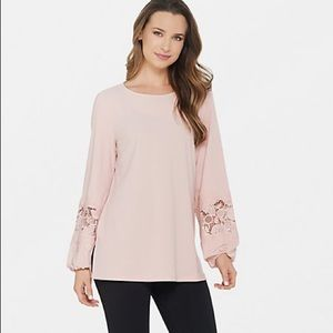 Dennis Basso Crepe Tunic with Lace-Trimmed Sleeves